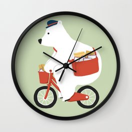 Polar bear postal express Wall Clock