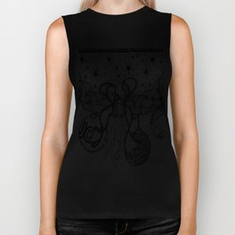 Christmas Zentangle Swag in Black and White for Adult Colorists Biker Tank