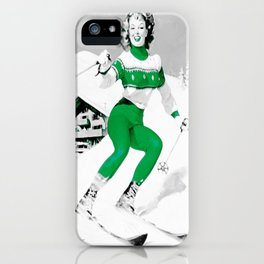 Snow Bunny Pin Up Girl Green iPhone Case