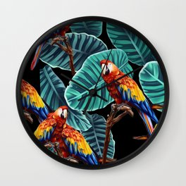tropical leaves macaw pattern 2 Wall Clock