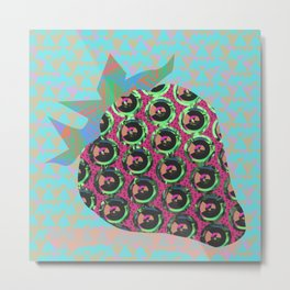 Acid strawberry Metal Print