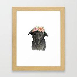Flower Crown Black Lab Framed Art Print