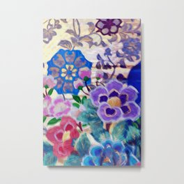 Japanese Vintage Floral Textile Pattern Metal Print