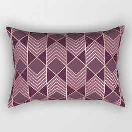 Chic Burgundy Gold Arrowhead Chevron Geometric Rectangular Pillow