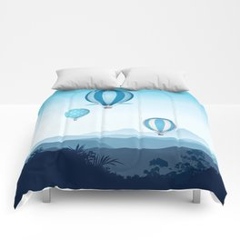 Hot air balloons - blue mountains Comforters