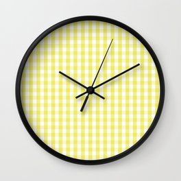 Citron Lemon Gingham Check Tartan Wall Clock