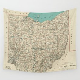 Vintage Map of Ohio (1887) Wall Tapestry