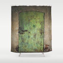 Rusty Green Door Shower Curtain