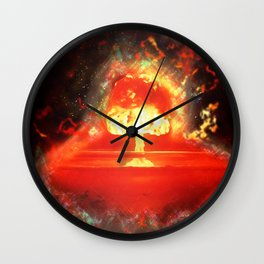 Famous humourous quotes series: Atomic mushroom explosion  Wall Clock