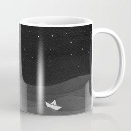 Moon phase, black and white, ocean Coffee Mug