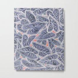 Tropical Caladium Leaves Pattern - Purple Gray Coral Metal Print