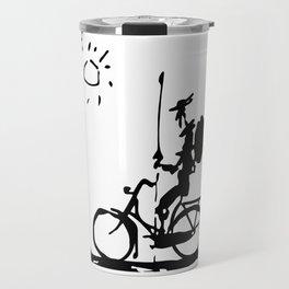 Don Quixote Riding Bike, Sketch Line Parody 1955 T Shirt Travel Mug