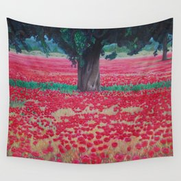 Olive Tree in Poppy Field Wall Tapestry