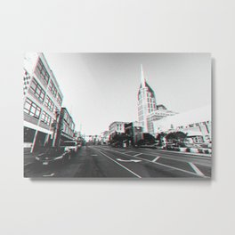 Downtown Nashville in 3D black and white Metal Print