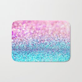 Pastel sparkle- photograph of pink and turquoise glitter Bath Mat