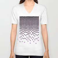 pixel V-neck T-shirts featuring Pixel Rain by Picomodi