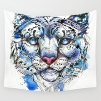snow leopard Wall Tapestries featuring Icy Snow Leopard by Abby Diamond