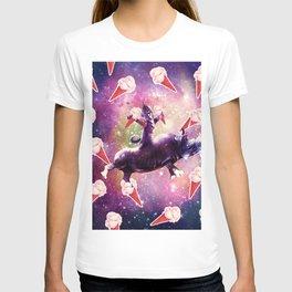 Warrior Space Cat On Rhino Unicorn - Ice Cream T-shirt