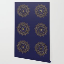 Om Symbol and Mandala in Spiritual Gold Purple Blue Violet Wallpaper
