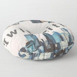 Twin Cities Minneapolis and Saint Paul Minnesota Skylines Floor Pillow