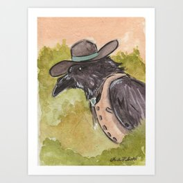 Southwestern Crow With Bolo Tie Surveys The Landscape From A Tree Art Print