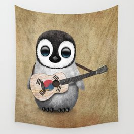 Baby Penguin Playing South Korean Flag Guitar Wall Tapestry