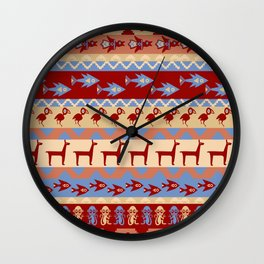 Inca Animals Fish and Birds Pattern Wall Clock
