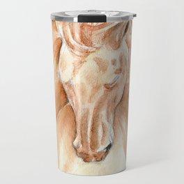 Golden Lusitano Stallion Study In Watercolor Travel Mug