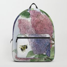 Lilacs and Bees Watercolor Painting Backpack