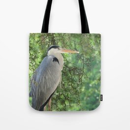 Grey heron (Ardea Cinerea) amongst trees Tote Bag