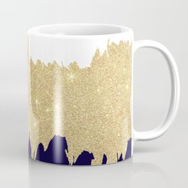 Modern navy blue white faux gold glitter brushstrokes Coffee Mug