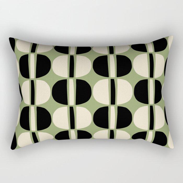 Mid Century Modern Geometric Pattern 129 Beige Black and Green Rectangular Pillow