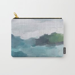 Aqua Blue Green Abstract Art Painting Carry-All Pouch