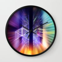 surrealism Wall Clocks featuring GOLDEN MOTION - Abstract Surrealism by INA FineArt