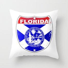 Florida Interstate Sign Throw Pillow