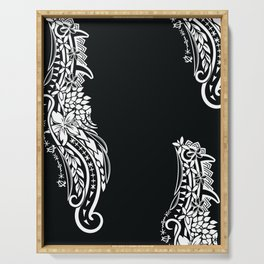 Black And White Polynesian Tribal Pattern Serving Tray