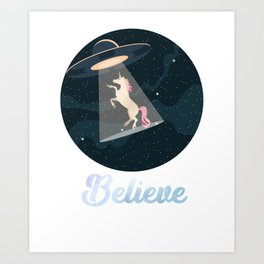 Believe Unicorn abduction by UFO in Space Art Print