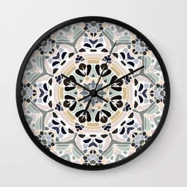Floral Multicolored Mandala with Light Linen Texture Wall Clock
