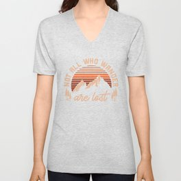 Not All Who Wander Are Lost Graphic Vintage Mountain Tee Unisex V-Neck