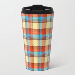 red and sky blue retro plaid Travel Mug