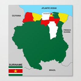 political map of suriname country with flag Canvas Print