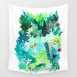 Twice Last Wednesday: Abstract Jungle Botanical Painting Wall Tapestry