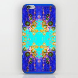 BLUE GARDEN GOLD-PINK  FLOWERS iPhone Skin