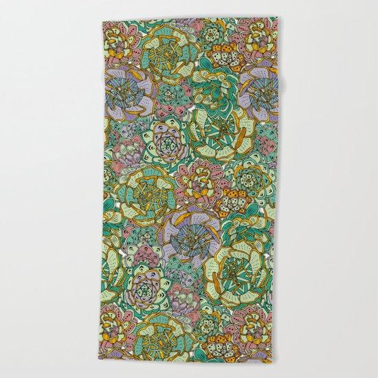 Blooming Succulents Beach Towel