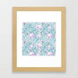 Neon pink green watercolor flamingo tropical leaves Framed Art Print
