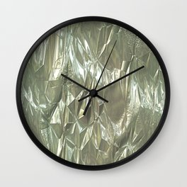 Crumpled Foil silver Wall Clock