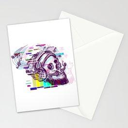 Human skull glitch Stationery Cards