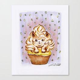 Lemon Meringue Cat Cupcake Canvas Print