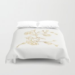 Golden flower on white background . artwork . Duvet Cover