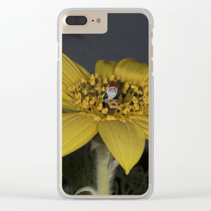 Gnome Flower Harvest Clear iPhone Case